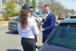 В Ейском районе сотрудники Госавтоинспекции  присоединились к Всероссийской акции «Георгиевская лента»